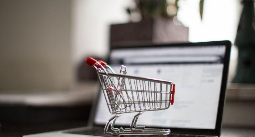 Shopping Cart on Laptop Online
