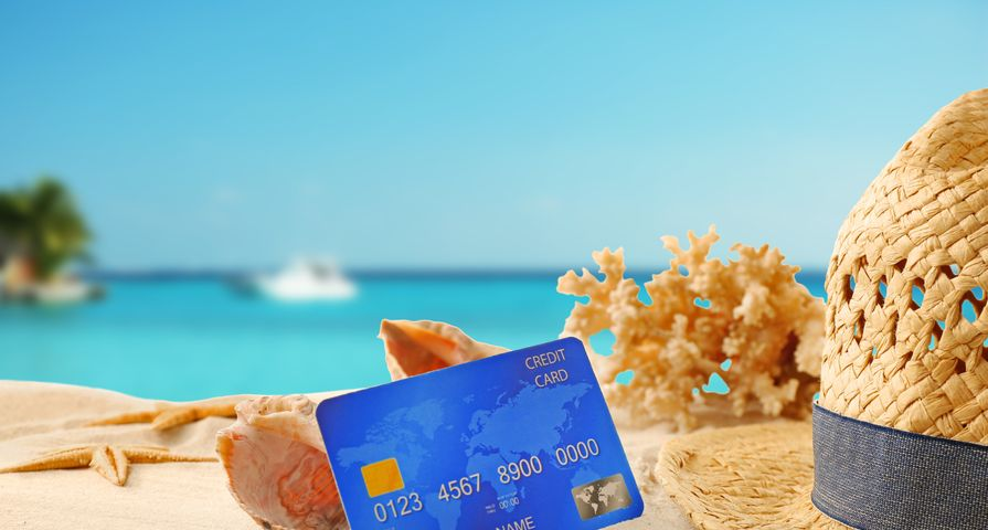 Credit Card in Sand at Beach