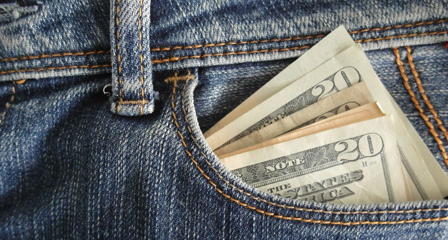 Jean Pocket Stuffed with Cash