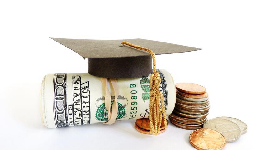 Student Graduation Cap on Money Roll
