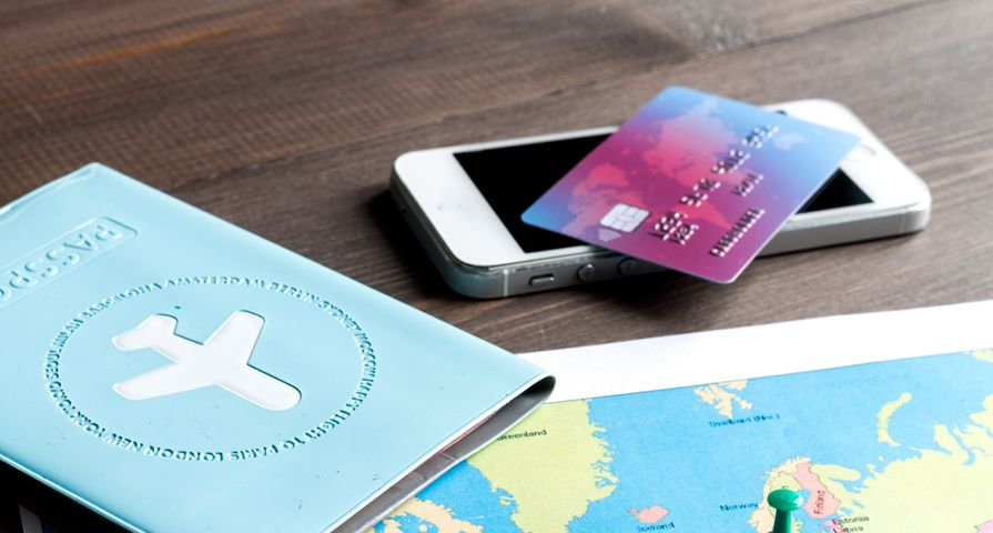 Travel Map, Passport and Credit Card