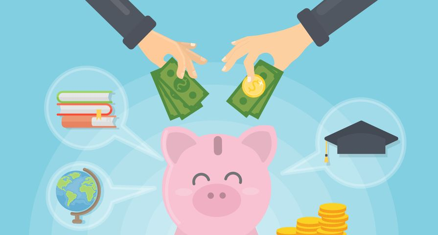Students Saving Money in Piggy Bank
