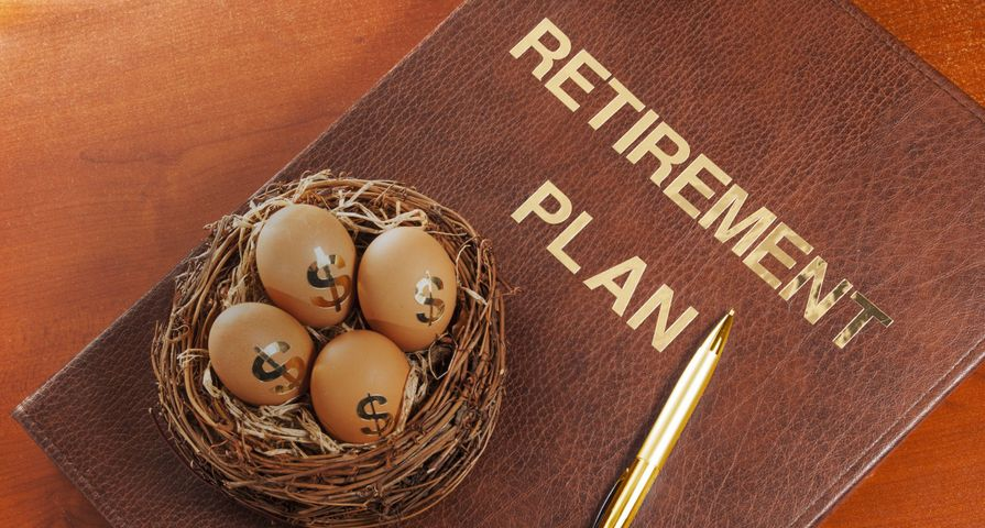 Retirement Plan Folder with Dollar Eggs in Basket