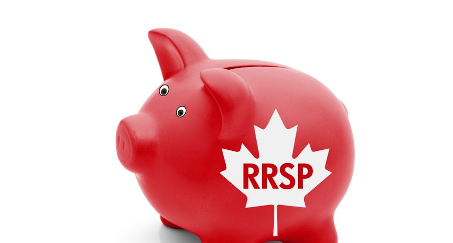 Red Canadian Piggy Bank with RRSP Written on it