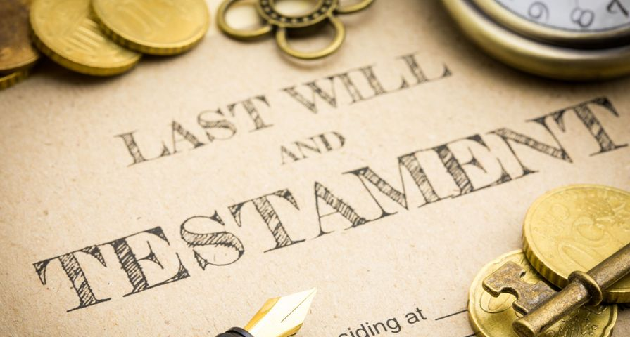 Gold Coins Covering Last Will and Testament