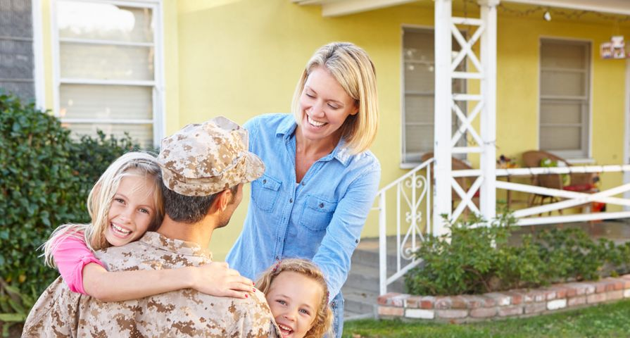 Military Family Celebrating Soldier