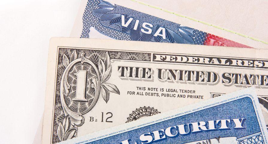 Visa, Social Security Card and Dollar Bill