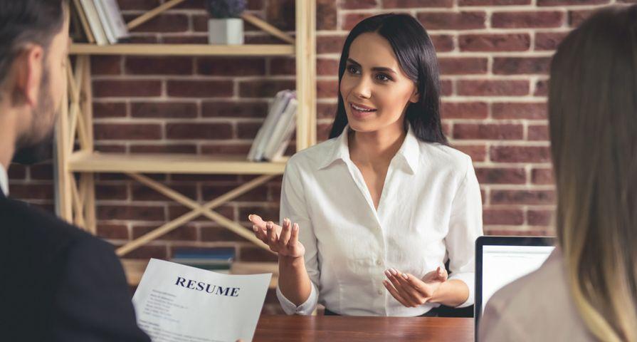 Woman Talking in Job Interview