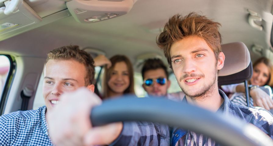 Teen driver with friends